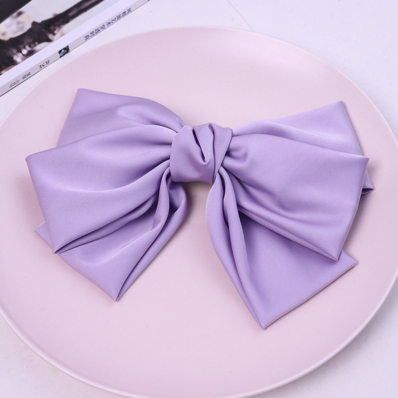3 Layers Violet Ribbon Barrettes-Large Size