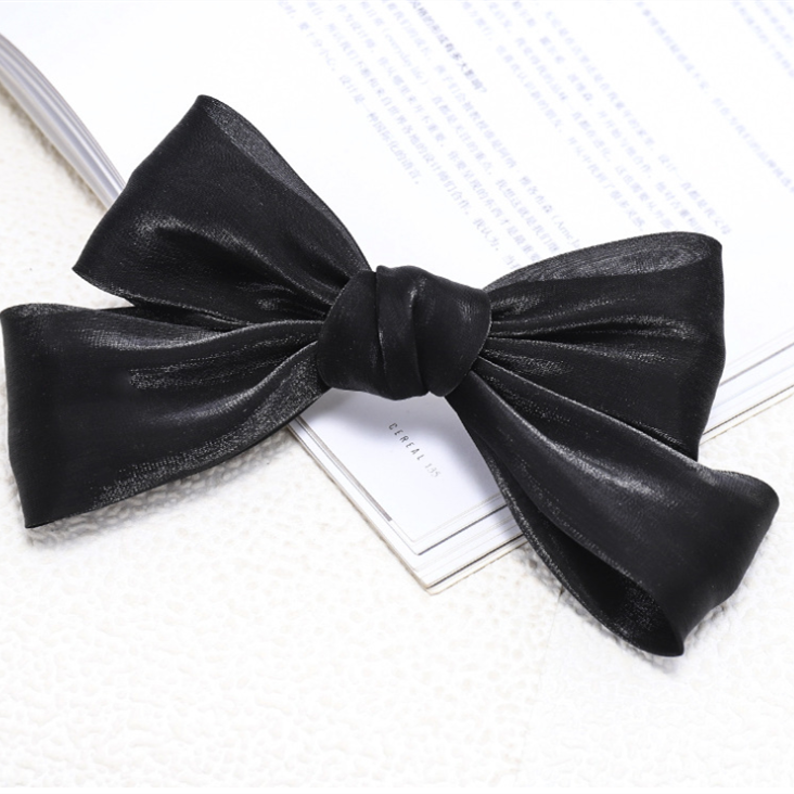 Jersey Fabric Bow Barrettes-Black